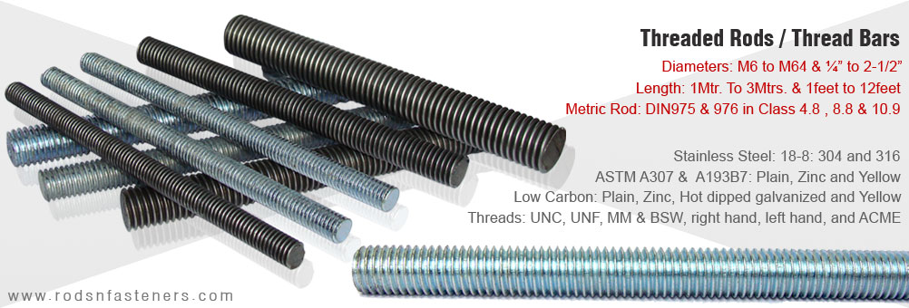 all thread rod - threaded rods - threaded bars exporters manufacturers in india