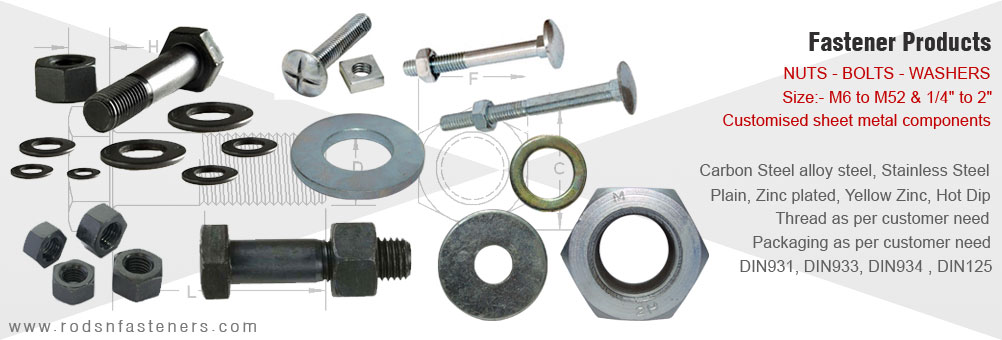precision fasteners manufacturers in india - hex nuts - hex bolts - steel washers exporters from india